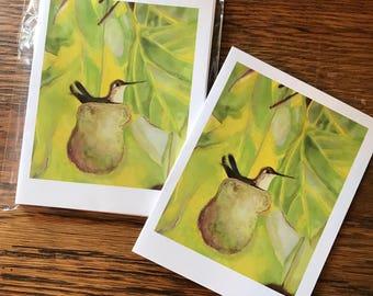 Hummingbird, Set of 5 blank notecards, original artwork copies