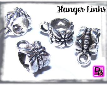 Lot # apprêt # 5 Bélières # papillons # libellule # 11mm # coloris Argent # hanger links # attache pour collier # créations diy # dollydoo