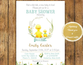 Digital file or Printed-Duckling Baby Shower Invitation-Rubber Duck Baby Shower Invitation-Baby Duck Boy Invitation-Birthday-Free Shipping