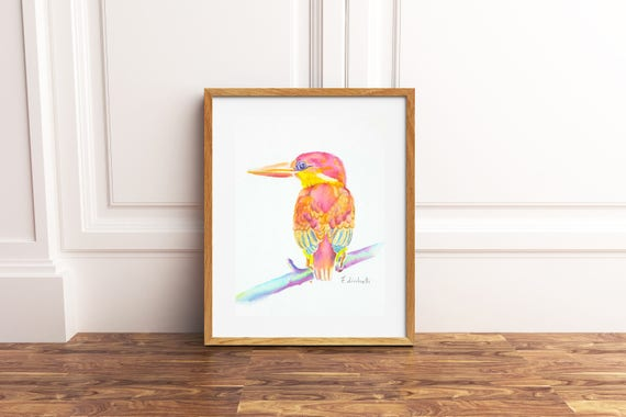 Red tropical bird, original watercolor painting by Francesca Licchelli, ornithology lovers, brigth decoration for holiday home, wall art.