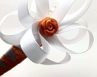 Handmade Headband for girls (+2 years old) - white & orange. Gifts for girls, Accessorise for any occasion, gift box included