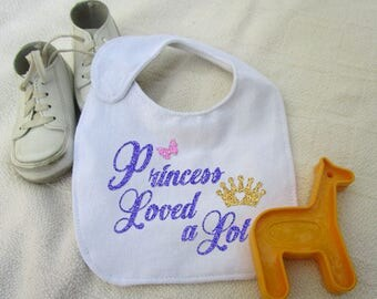 Princess Loved A Lot, SVG Cut File, Fun Baby Bib, Tshirt, Onesie, Gift Vinyl Cutting File, Design for digital cutting machines, MTC, Studio3