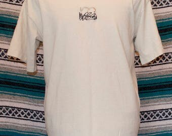 90s Mossimo Single Stich Embroidered Logo Shirt L Large Cotton Cream