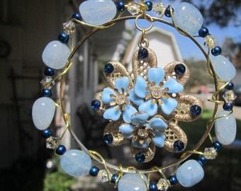 Blue & Gold Flower Sun Catcher -  #374