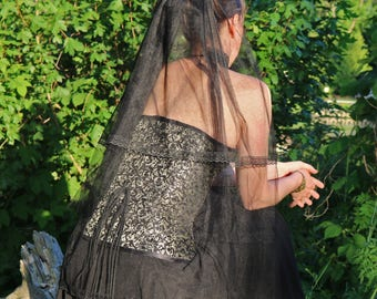 Romantic black veil with satinrose, veil, black veil, gothicveil, veil with rose, satinrose, laceveil