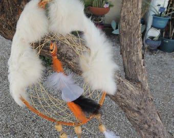Rabbit Fur Dreamcatcher / Native American / boho / hippy
