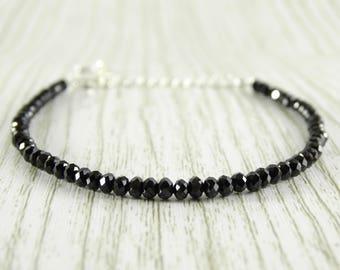 Sterling silver bracelet black spinel bracelet layering bracelet birthstone bracelet bead bracelet adjustable bracelet women black bracelet