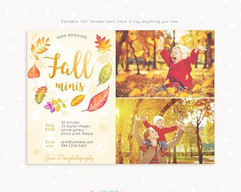 Fall Mini Session Template, Photography marketing, Autumn mini sessions, Fall template, Autumn photography, Fall minis, Fall marketing