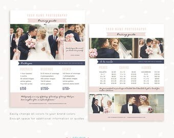 Photography Pricing List, Price List Template, Photoshop Template, Wedding Pricing Template, Wedding Price List, Pricing Guide, Collage