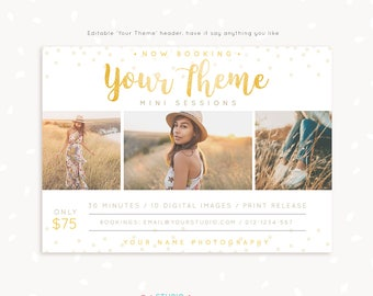 Mini Session Template, Photography marketing, Photoshop template, Gold mini sessions template, Editable marketing board, photo sessions