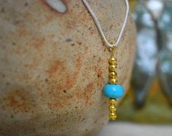 Silver Necklace - Gift - Jewellery - Turquoise Necklace - Charm - Turquoise - Gold Beads - Turquoise Bead - Gift for Her