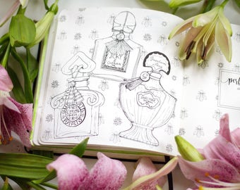 Perfume-themed journal and coloring book | Scent of the Day Diary