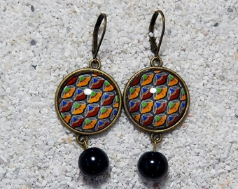 """Earrings """"Caroline""""- africa wax noir"""