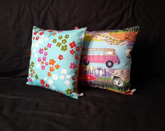Cushion cover volkswagen combi or colorful flowers, colorful vintage style patterns