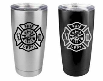 Fire Fighter Tumbler , Stainless Steel , 20 oz , Custom Engraved - Fireman , Fire Department Yeti