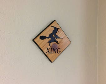 witch sign, halloween sign, witch crossing, halloween decor