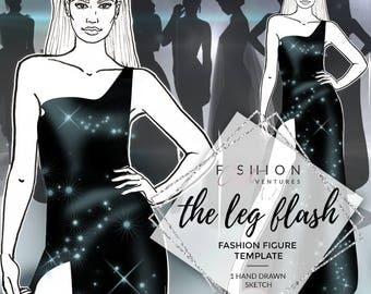 The Leg Flash | Fashion Template, Fashion Illustration, Croquis, Fashion drawing