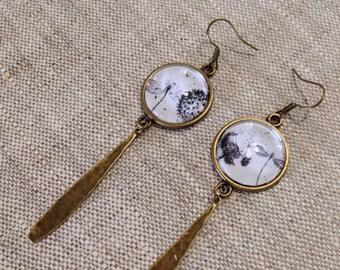 Earrings long cabochon glass - dandelion - dandelion - Dragonfly - nature