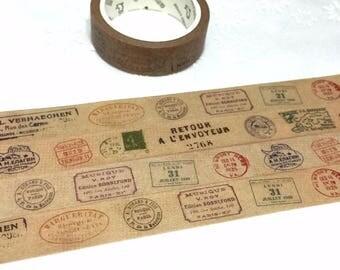vintage postage stamp chop washi tape 7M x 1.5cm air mail label stamp world postage stamp travel sticker postcard stamp sticker tape decor