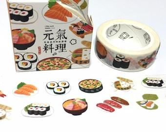 sushi washi tape 7M sashimi salmon rice roll egg roll Japanese food masking sticker tape shrimp sushi kid food party decor gift wrapping