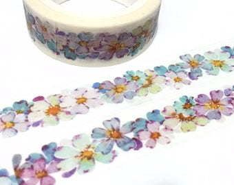 purple flower washi tape 7M Five Leaf Flower wild flower purple tone flower sticker tape colorful flower blooming gardening planner decor