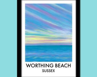 Worthing Beach Travel Poster