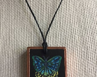 Butterfly art necklace, Mother's Day gift, Gift for gardener, Handmade butterfly jewelry, Miniature painted butterfly, Unique handmade gift
