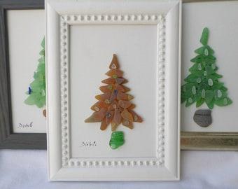 christmas tree seaglass christmas tree christmas decoration green christmas decoration green christmas - Glass Christmas Tree