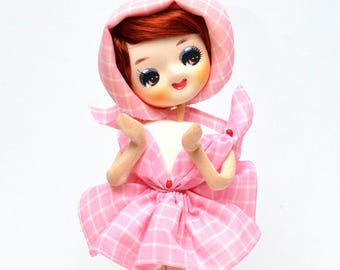 Vintage Mod Big Eye Pose Doll 1960's Japan Pink Dress