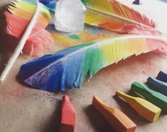 Rainbow Feather - Handmade - The Open World Tribe -