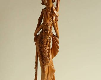 Balinese Hand-Carved Wood Statue of a Dancer,Indonesia Mid 20 Century