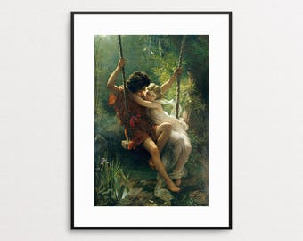 Springtime by Pierre-Auguste Cot - Couple - Lovers - Vintage Oil Painting Reproduction - Valentine's  Day Gift - Boy and Girl - Wall Art