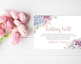 Succulent Wishing Well Printable Card, Floral Wedding Wishing Well Insert, Boho Honeymoon Wish, Bridal Shower Wishing Well, Download 128-W