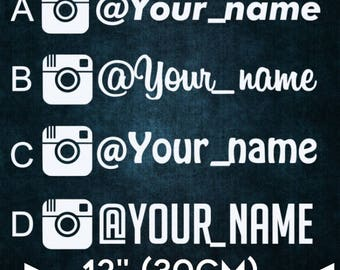 "4x INSTAGRAM 12"" (30 cm) Medium username Personalized IG Decal Sticker, promo Instadecal, custom instagram decal"