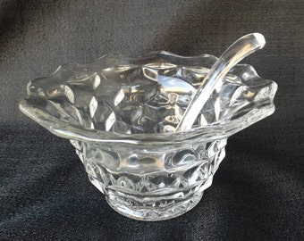 Fostoria Mayonnaise Bowl & Ladle W/No Underplate in American Clear