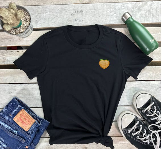 Peach Emoji Embroidered Women's Short Sleeve Crew neck T Shirt, Embroidered Tee , Peach T-shirt, Fruit Embroidered T-Shirt