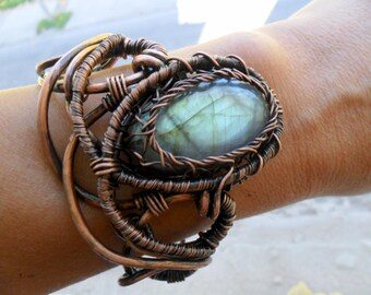 Labradorite wire wrap bracelet Wire wrapped bracelet jewelry Heady wire wrap Copper cuff bracelet for womens Copper wire jewelry  OOAK