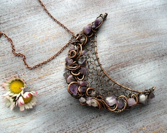 Moon pendant necklace Crescent moon necklace Amethyst moon necklace Wire wrapped moon necklace Copper moon necklace Wiccan necklace Womens