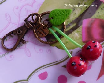 Cherry bronze snap bag charm Keychain face kawaii polymer clay fimo and heart charm
