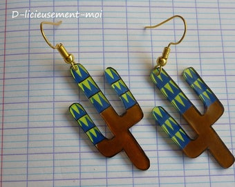 Gold plated cactus earrings Brown Blue and neon yellow handpainted crazy shrink plastic