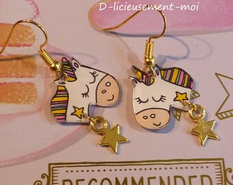Gold plated earrings Unicorn kawaii crazy crazy plastic charm and hand-painted star