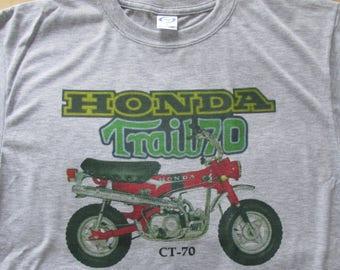 Red Honda Trail CT-70 Graphic T-Shirt - Ashen Grey - New - Men's Small to 3XL - Vapor Apparel - Bike - Motorcycle - Retro - Vintage Design