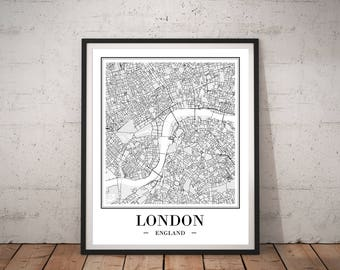London City Map Print London Map Poster DIGITAL PRINTS London England Map Of London Map Print London Printable Wall Art Travel Gift UK