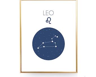 Leo Zodiac Leo Constellation Print Leo Print Leo Star Sign Leo Zodiac Print INSTANT DOWNLOAD Gift Leo Art Leo Printable Modern Minimalist