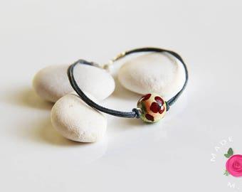 Bracelet - Pearl floral craft MademoiselleWHO handpainted - SECRET GARDEN - spring