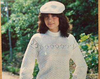Ladies Lace Jumper Knitting Pattern, Sirdar Knitting Pattern, Vintage Knitting Pattern, Ladies Lace Sweater, Textured Jumper, No. 5887