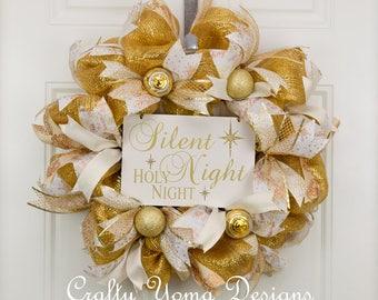 Elegant Gold Christmas Wreath, Gold Wreath, Gold Deco Mesh Wreath, Silent Night Wreath, Holy Night Wreath, Gold Ornament Wreath, Gold Ribbon