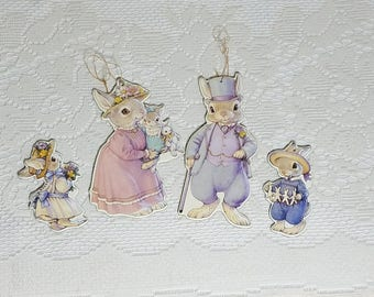 The Hopper Family Bunny Rabbits Easter Cardstock Double Sided Ornaments with Gold Highlights 1991 B. Shackman & Co.