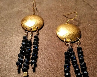 Hammered Brass and Beads Earrings,  Brass Chandelier Earrings,  Brass and Glass Earrings
