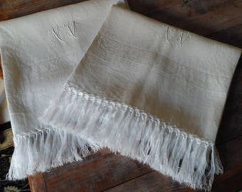 French towels pair monogrammed fringed white cotton linen damask large hand bath shower